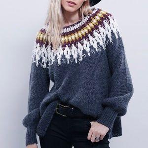 Free People Baltic fairisle pullover grey sweater